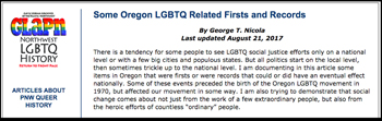 Oregon Firsts